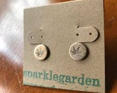 Bronze Copper or Sterling Silver cannabis weed herb medicine post earrings
