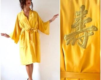 SUMMER SALE/ 30% off Vintage 70s 80s Golden Yellow Kimono Dressing Robe