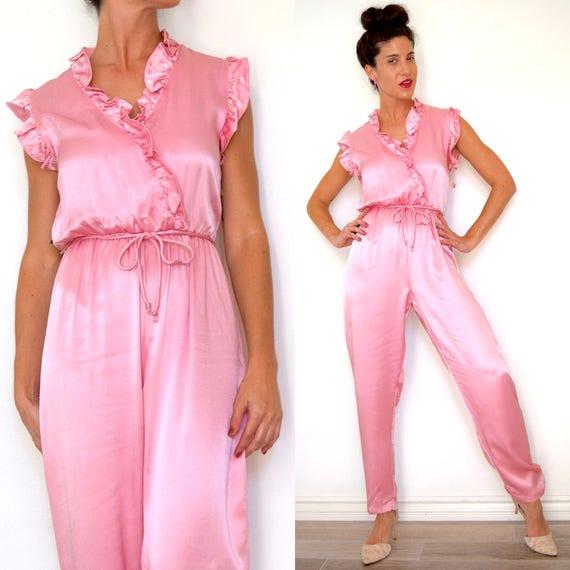 Vintage 70s 80s Liquid Pink Satin Jumpsuit (size small, medium)