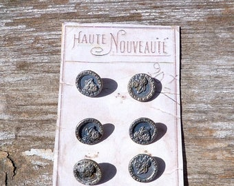 ON SALE Vintage Antique Victorian French 1890/1900 silvered floral buttons set of 6 on card