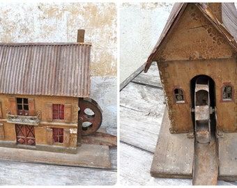 Antique 1900s  French Folk art Tramp art one of a kind wood house / dawn mill /stuning work/Art populaire