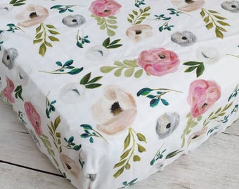 Floral Fitted Crib Sheet - Baby Girl Crib Sheet - Navy Blue Blush Pink Crib Sheet - Floral Nursery Bedding - Watercolor Floral Crib Sheet -
