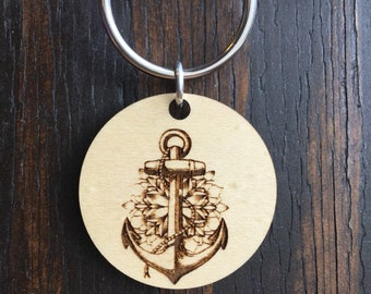 Anchor and flowers Wood Pendant keychain