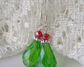 SALE Green Teardrop Crystal Earrings / red and green crystal / Christmas earrings / gift for her / holiday earrings