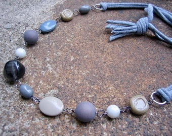 Eco-Friendly T Shirt Yarn Statement Necklace - A Simple Path -  Recycled Vintage Plastic Beads in Various Shapes and Shades of Grey