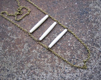 Eco-Friendly Ladder Necklace - Cross My Heart - Recycled Vintage Brass Chain and Three Creamy White Plastic Tube Beads Horizontally Arranged