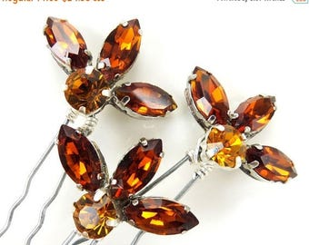 30% OFF SUMMER SALE Topaz Amber Vintage Style Rhinestone Hair Accessories