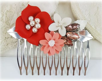 Coral Flower Hair Comb - Coral Wedding Comb, Coral Bridal Hair Comb, Coral Hair Accessories, Orange Flower Hair Comb