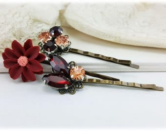 Red Bordeaux Hair Pins - Red Vintage Style Bobby Pins - Red Flower Hair Pins, Maroon Antique Bobby Pins, Vintage Style Hair Ornaments