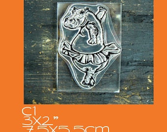 C1 Large Hippo Clear Rubber Stamp Mounted