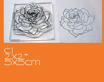 C1 Rose crystal clear rubber stamp mounted