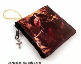 Virgin Mary, Untier of Knots Zippered Rosary Case With Crucifix Charm