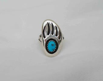 Vintage Sixties Signed  Sterling Silver & Turquoise Navajo Bear Claw Ring Size 6 / South West Native American Jewelry Tribal