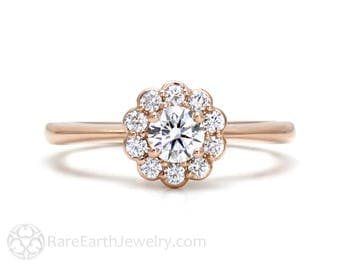 Diamond Engagement Ring Rose Gold Halo Cluster 14K Custom Fine Jewelry Conflict Free Diamond Ring