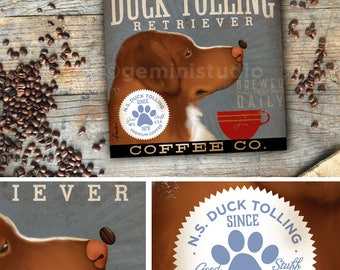 Nova Scotia Duck Tolling Retriever dog Coffee Company illustration graphic art on gallery wrapped canvas by stephen fowler