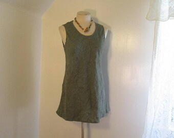 Flax 90s minimalist Linen dress Moss green Tunic Sundress Vintage 90s Green bohemian dress S