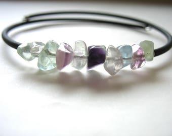 Rainbow Fluorite Bracelet, Rainbow Fluorite Jewelry, Gemstone Rainbow Fluorite Cuff Bracelet, Gemstone Jewelry, luminouscreation