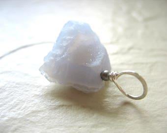 Blue Lace Agate Pendant, Druzy Blue Lace Agate Gemstone Pendant Necklace, Artisan Jewelry