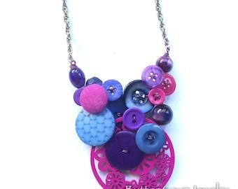 Blue Magenta Big Chunky Vintage Button Statement Bib Necklace - ooak