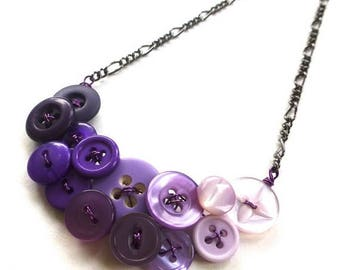 BUTTON JEWELRY SALE Ombre Purple Vintage Button Fashion Necklace - Shades of Purple