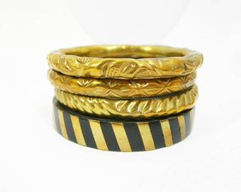 "Brass Slave Bangle Bracelets - Lot of 4 - Jingling Musical Fun Stacking Bracelets - Vintage Bohemian Jewelry - 2-1/2"" Interior Width"