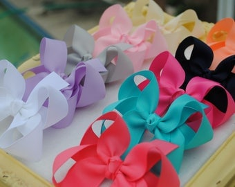 """Girls Hairbow Collection - Set of Toddler Bows - Choose Colors - 3 Inch Hair Bow - Twisted Boutique Bow Clip - School Barrettes - 4"""" Bows"""