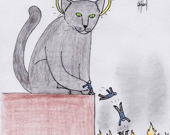 God as Cat CARTOON