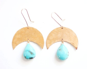 Turquoise Teardrop Crescent Moon Earrings | Brass | 14k Gold Fill | Sterling Silver