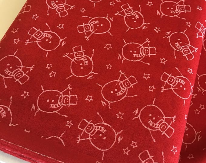 Christmas fabric, Quilting fabric, Chalkboard Art, Christmas or Winter Craft, Merry Scriptmas, Chalkboard Snowmen in Red - Choose the cut