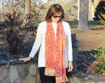 Winter Spice ... hand painted silk velvet scarf