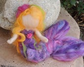 Purple Mermaid, With Starfish on her head, and Her Treasure from the deep ocean - Waldorf  Inspired Needle Felted Doll