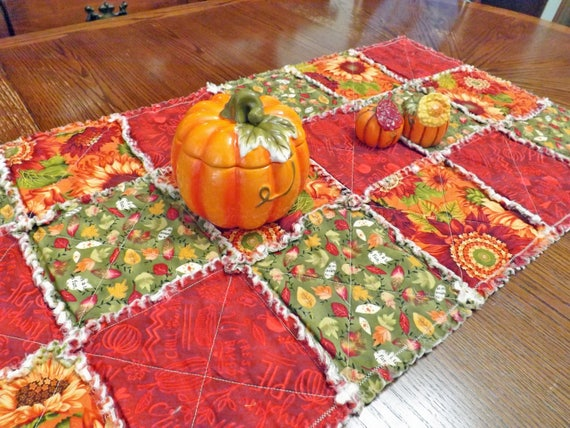 Rag Quilt Table Runner with Autumn Leaves and Fall Flowers - Pretty Autumn colors in red, green and orange - Table Runner for Thanksgiving