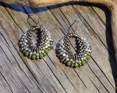 Beaded Statement Earrings - Bead Weaving Jewelry - Silver Galvanized  Round Dangles - BOHO