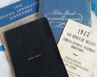 1940s Indiana Political and Military Memorabilia State Legislature and Senate Directory Constitution Legal Rules