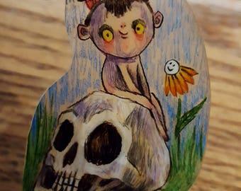 Sittin on a skull in the park original art