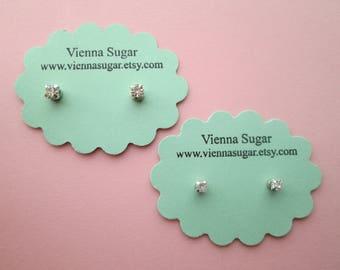 3 or 4 mm Clear Crystal Rhinestone Magnetic Earrings or Hypoallergenic Plastic Post Studs