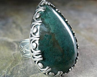 statement ring moss agate nature jewelry metalsmith artisan ring - FaerieWood