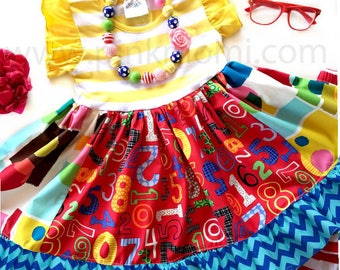 Back to School dress, First day of School dress, Numbers Shapes Momi boutique