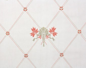 1930s Vintage Wallpaper by the Yard - Antique Floral and Gold Geometric Shell Wallpaper