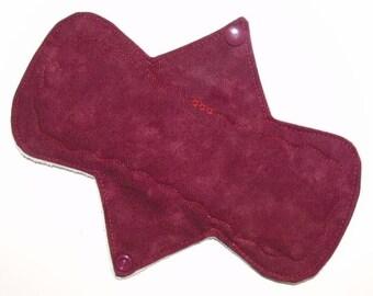 "8"" Heavy Waterproof Reusable Cloth Menstrual Pad - Marbled Cranberry - (8OSHC)"