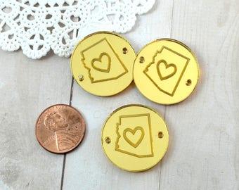AZ LOVE CHARMS- Circle Disc Charm-  Shiny Gold Mirror Laser Cut Acrylic
