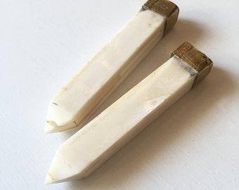 80mm x 15mm Ivory Bone & Brass Pendant