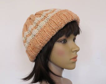 Merino and Alpaca Hat, Natural Dyed with Madder Root, Hand Spun and Hand Knit