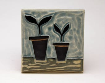 Potted Plants-3x3 ceramic tile- Ruchika Madan