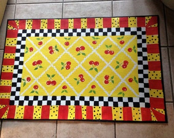 "Floorcloth  COUNTRY COTTAGE   decor Cherries 30""x56"""