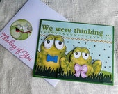 Handmade Thinking of You Card: frogs, get well, we, green, greeting card, card, complete card, handmade, balsampondsdesign