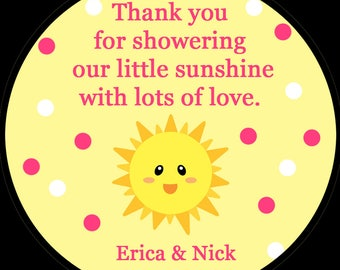 Sunshine Baby Shower Stickers - PINK You Are My Sunshine - AVAILABLE in Four Sizes - You Are My Sunshine Baby Shower