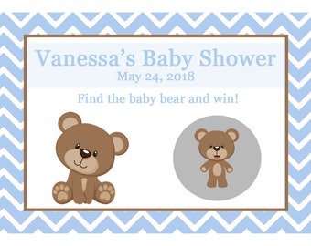 56 Personalized Baby Shower Scratch Off Game Cards - Teddy Bear Baby Shower - BLUES