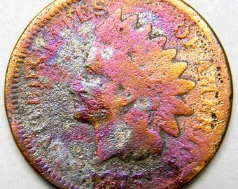 1875 & 1874 Indian Head Penny Coins TONED Copper