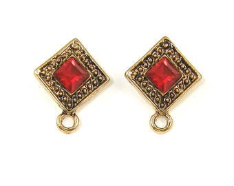 Red Gold Earring Posts, Ruby Red Rhinestone Stud Earring Findings, Red Gold Earring Posts with Loop |R1-8|2